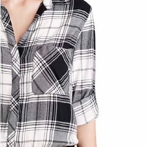 Cloth & Stone Plaid Print Button Down Shirt